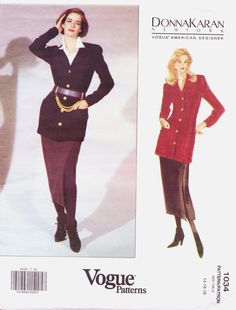 90s Vogue American Designer Pattern 1034 Donna by CloesCloset, $16.00