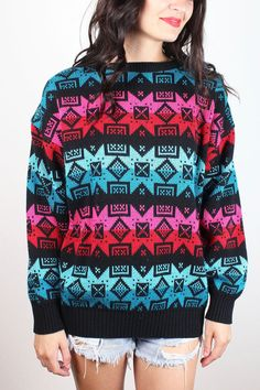 Vintage 80s Sweater Black Red Pink Teal Geometric Southwestern Striped Boyfriend Sweater 1980s New Wave Mod Nordic Jumper M Medium L Large #1980s #80s #sweater #jumper #pullover #knit #southwestern #striped #nordic #geometric #etsy #vintage