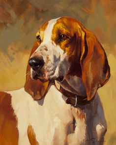 """Andre Pater (Polish/American, born 1953) -  YOUNG HOUND -  Oil on board, 15"""" x 12 1/2"""""""