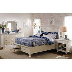 Aspen Home Cambridge Queen Panel Storage Bed in Eggshell