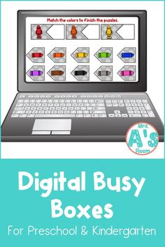 This fun digital busy box is perfect for online instruction or distance learning with your preschool, pre-k, or kindergarten kiddos! It works with multiple platform and in the classroom for practice matching colors! #mrsasroom School Resources, Learning Resources, Powerpoint Format, Color Puzzle, Matching Colors, Busy Boxes, Group Work, Preschool Kindergarten, School Colors