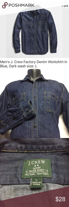 """J. Crew Factory Denim Work Shirt. Size- L J. Crew Factory Denim Work Shirt. Excellent like new condition- No holes, rips, or funky smell. Laundered, clean and ready to ship. First picture is from J. Crew Size - L  When laid flat shirt measures:  22.5"""" from armpit to armpit 26"""" from shoulder to cuff 29"""" from the bottom of the collar to hem J. Crew Shirts Casual Button Down Shirts"""