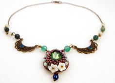 Green Victorian Necklace Beaded Crystal by ThezoraArtBijoux D:\Documente\desktop\Margele\Poze bijuuri\23.01.2013