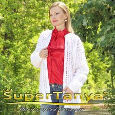 Boutique hand knitted summer white mohair cardigan by SuperTanya
