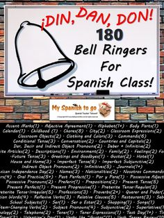 180 bell ringers in this Power Point for topics that span high school Spanish levels 1,2,3, and 4!.