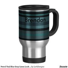 Petrol Teal Blue Gray Linen Look Striped Design 15 Oz Stainless Steel Travel Mug