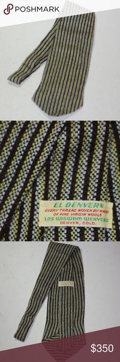 """RARE EL DENVER Los Wigwam Weavers Handwoven Tie RARE EL DENVER Los Wigwam Weavers Handwoven Tie Vintage Mid Century Modernist Arts & Crafts Movement One of A Kind Handwoven Neck Tie VERY VERY RARE Label Says: El Denver  """"Every Thread Woven by Hand of Fine Virgin Wools"""" Los Wigwam Weavers, Denver. Colorado Collector's item Vintage Neck Tie Clothing Vintage El Denver Accessories Ties"""