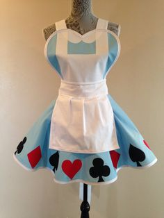 Alice in Wonderland - Alice apron - womens apron - costume apron - cosplay costume - retro apron Dress Up Aprons, Cute Aprons, Retro Apron, Retro Dress, Aprons Vintage, Sewing Aprons, Medieval Clothing, Cool Halloween Costumes, Little Girl Dresses