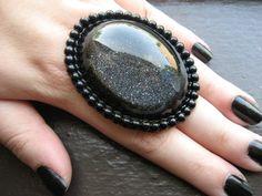 Bella Morta Jewelry - Noir XL Glitter Ring, $18.99 (http://www.bellamortajewelry.com/noir-xl-glitter-ring/)