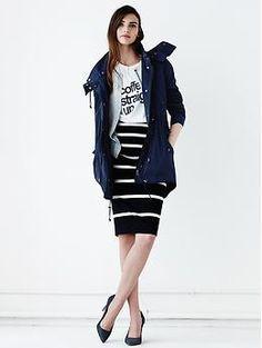 Sloan-Fit Horizontal Stripe Pencil Skirt   Banana Republic