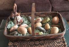 Primitive gathering basket ready for Easter....