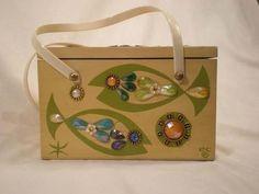 891ef0f399da Enid Collins zodiac Pisces wood box bag purse in green print with multi  colored gem trims.
