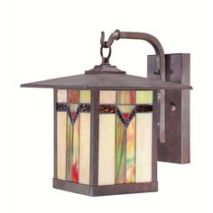 Stained Glass and Bronze Hanging Outdoor Wall Lamp Tiffany Arts and Crafts Light #allen_roth