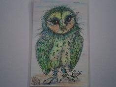 Eule Meereule grün Taschenkunst gerahmt Geschenk von kunstpause auf DaWanda.com