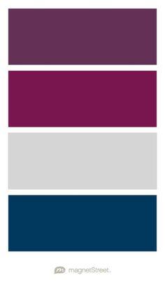 Eggplant, Sangria, Silver, and Navy Wedding Color Palette - custom color palette…