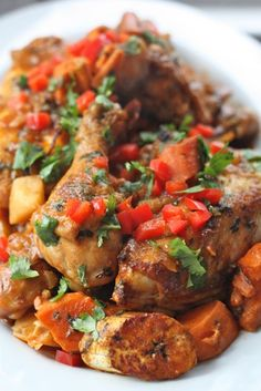 Caribbean Chicken-swap out white potatoes for more yams and do olive oil instead of corn oil.