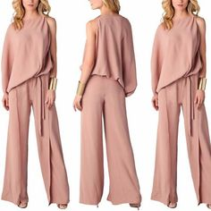 Fashion Women One Sleeves Solid Irregular Jumpsuit Romper Clubwear Party Casual Casual Chique, Casual Jumpsuit, Pink Jumpsuit, Short Jumpsuit, Looks Plus Size, Jumpsuits For Women, Clubwear, Rompers, Party Dresses