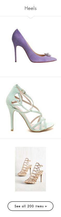 """""""Heels"""" by hallierosedale ❤ liked on Polyvore featuring shoes, pumps, heels, green, stiletto pumps, heels stilettos, green high heel pumps, vegan shoes, open toe pumps and cream"""