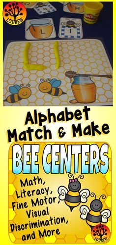 168 pages of bee themed centers. Activities include literacy, math, shapes, numbers, counting, beginning sounds, color words, bees, bee activities, letter order, mapping, cvc words, spelling, alphabet, ten frames, tally marks, insects, bugs, craft, letter matching, subitizing, number sets, bundle, visual discrimination, number words, cardinality, fine motor, and more. For kindergarten, preschool, SPED, child care, homeschool, or any early childhood setting.
