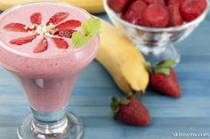Strawberry Banana Protein Smoothie:  This strawberry smoothie is perfect for breakfast, dessert, or a post-workout snack!  #snack #strawberry #banana #smoothie #recipe