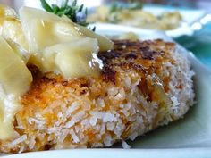 The Daily Dietribe: Coconut Crusted Sweet Potato Salmon Cakes with Apple Rosemary Cream Sauce (Paleo + Egg-Free, Nut-Free)