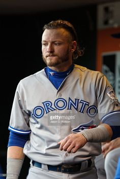 Josh Donaldson of the Toronto Blue Jays stands in the dugout before the game against the San Francisco Giants at AT&T Park on May 2016 in San Francisco, California. The Toronto Blue Jays defeated the San Francisco Giants Josh Donaldson, American League, Toronto Blue Jays, Go Blue, San Francisco Giants, Baseball Players, Bowling, Kate Middleton, Selena Gomez