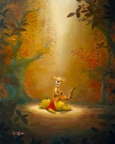 Winnie the Pooh - The Most Wonderful Thing - Tigger - Original by Rob Kaz presented by World Wide Art Cute Winnie The Pooh, Winnie The Pooh Quotes, Winnie The Pooh Friends, Cute Disney Wallpaper, Cartoon Wallpaper, Disney Fine Art, Disney Paintings, Pooh Bear, Cartoon Pics