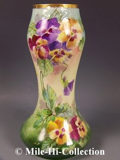 "Limoges France Hand Painted Pansies Lamp Vase | eBay William Guerin, Limoges France (late 1890s-ca.1900).    12-1/2"" tall x 7"" wide. drilled for lamp hardware"