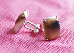 50% off on sterling silver Cufflink Pair studded with Shiva's Eye gemstone by colorvilla on Etsy