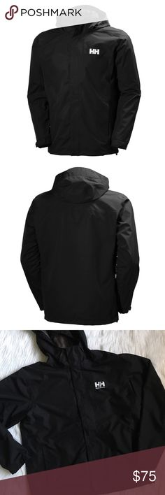 "Helly Hansen Dubliner Black Waterproof Rain Coat great-fitting, versatile Helly Tech® DUBLNER jacket for men. in the color ""990 black"". waterproof, breathable and windproof with fully sealed seams to protect you against the elements. it's quick-dry, lightweight lining adds comfort in both warm and cold weather. perfect rainwear for wet weather. Helly Tech® Protection. price is FIRM. *CONTINUES IN COMMENTS* Helly Hansen Jackets & Coats Raincoats"