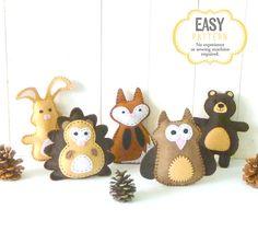 Woodland Animal Sewing Patterns Mini di LittleSoftieShoppe su Etsy