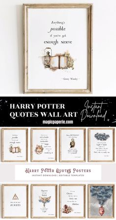 Harry Potter Quotes Printable Wall Art Decor ⬇⬇⬇ It's an INSTANT DOWNLOAD JPG! Decor your favorite room with this set of 8 Hogwarts quotes poster. Harry Potter Quotes Inspirational Wall Art Prints DIY. Printable posters for a room Theme. Magical Harry Potter Quotes Wall Art that you can print yourself, save money and time. #harrypotterquotes #harrypotterposter #harrypotterprints #harrypotterwallart #harrypotterroom #harrypottercrafts #harrypotterdecor Harry Potter Ginny Weasley, Harry Potter Wall Art, Harry Potter Nursery, Harry Potter Poster, Harry Potter Decor, Harry Potter Quotes, Harry Potter Fandom, Inspirational Wall Art, Printable Quotes