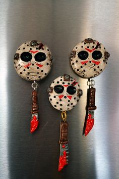 Jason Voorhees polymer clay magnets