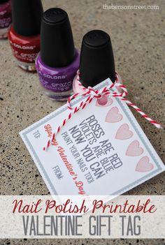 Nail Polish Printable Gift Tag at thebensonstreet.com #nailpolish #valentine