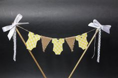 Baby cake topper bunting  burlap / hessian flags with by SoLuvli, £9.99