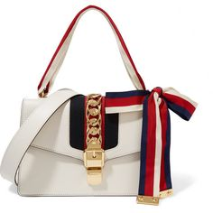 Gucci Sylvie canvas-paneled leather shoulder bag ($2,490) ❤ liked on Polyvore featuring bags, handbags, shoulder bags, gucci, white, white handbags, genuine leather shoulder bag, white purse, shoulder handbags and gucci handbags