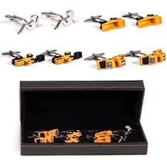 MRCUFF Construction Vehicles Dump Truck Roller Shovel Tractor 4 Pairs Cufflinks w/ Presentation Gift Box. Construction Vehicles Dump Truck Roller Shovel Tractor 4 Pairs Cufflinks with a Presentation Gift Box. Arrives in hard-sided presentation box ready for gift giving. 30 day, no reason needed return policy. We make your french cuffs look good!. Microfiber polishing cloth included with set.