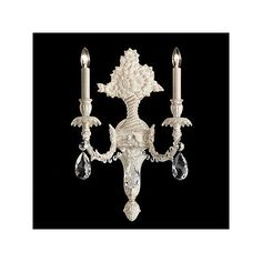Schonbek Genzano 2 Light Wall Sconce Crystal Type: Spectra Clear, Base Finish: Florentine Bronze