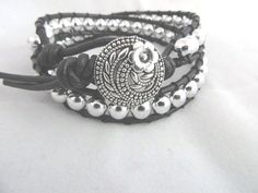 Black Silver Boho Chic Double Wrap Leather by RitzyandGlitzy, $32.00