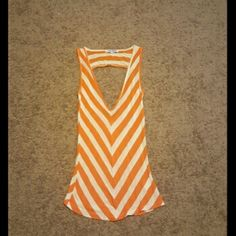 Orange & white striped shirt with cutout back Orange & white striped shirt with cutout back Tops Tank Tops