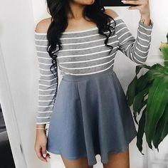 Link in bio to shop! ✨ Summer Striped bodysuit (restocked) ✨ Blue Skater Skirt shopdevi.com • #shopdevi