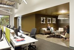 Skype recently hired architecture and interior design firm Blitz to renovate their current sq ft space in Palo Alto. Their primary goal was to creat Office Space Design, Office Interior Design, Office Interiors, Visual Merchandising, Ford Interior, Church Interior, Funky Lighting, Cool Office, Office Ideas