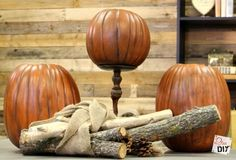 It takes just two steps, but it will make your faux pumpkins look realistic and rustic year after year! I love to transform pumpkins, especially faux pumpkins that I can save from year to year! It's great to be able to pull down the fall decorations box Fake Pumpkins, Dollar Tree Pumpkins, Plastic Pumpkins, Glitter Pumpkins, Glass Pumpkins, Halloween Pumpkins, Fall Halloween, Christmas Pumpkins, Halloween Crafts