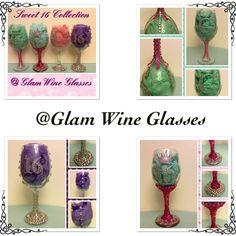 Set of 4 Bling Sweet 16 glasses ~ $100 set or $25 each #Rhinestones #Bedazzled #Bling #Handmade @GlamWineGlasses ~ http:://etsy.com/shop/glamwineglasses facebook.com/shannansperfectcreations