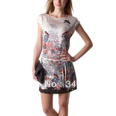 Brand New Euro style women Dresses 2014 spring fashion vestidos women short sleeves bird floral printed A-line casual dress