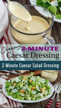 Our Creamy Caesar Dressing recipe brings this tableside classic to your family dinners with ease. We use a hand blender and it's done in a snap! It only takes 30 seconds to blend it up and a minute or so to prep the ingredients. Easy Caesar Dressing Recipe, Salad Dressing Recipes, Low Carb Salad Dressing, Salad Dressings, Cesar Salat, Comida Keto, Comida Latina, Hand Blender, Tapenade