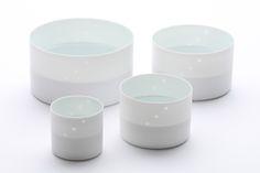 """Inhwa Lee """"Light of Sulwha - Cylinder set"""" Porcelain, Piercing, Wheel throwing, 1280℃ Reduction Firing, Polishing"""