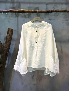 New Arrival Bat Sleeve White Blouse Womans Natural Flax Clothing  #clothing #white #blouse #flax #linen #top #plain #casual