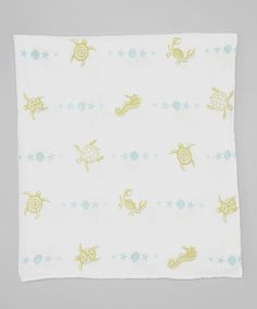 47'' x 47'' White Sea Creatures Organic Muslin Swaddling Blanket by Bambino Land #zulily #zulilyfinds