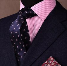 Midnight Blue Herringbone Twill With Pink Spade Emblem Handmade Skinny Tie Mature Mens Fashion, Mens Fashion Suits, Mens Suits, Terno Slim, Blazer Outfits Men, Business Shirts, Skinny Ties, Suit And Tie, Well Dressed Men